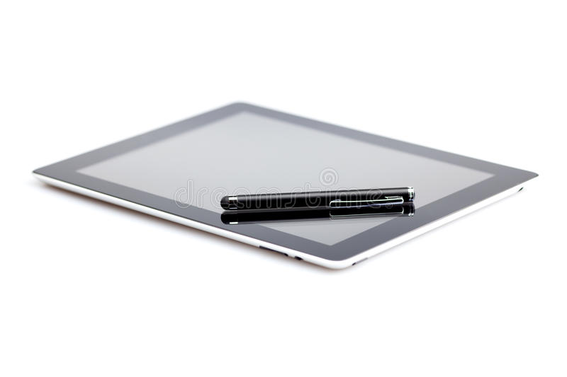 Tablet and stylus. On white background stock photography