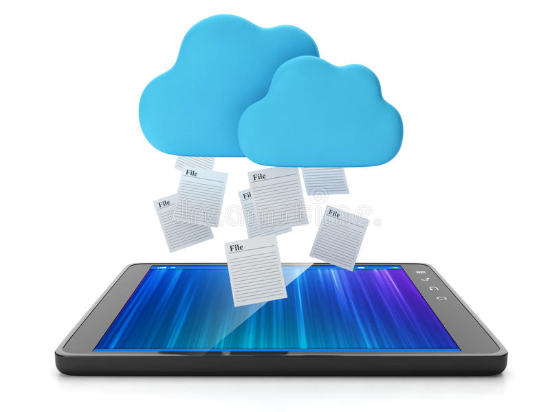 Download The Tablet Takes A Group Of Files Stock Illustration - Image: 28406908