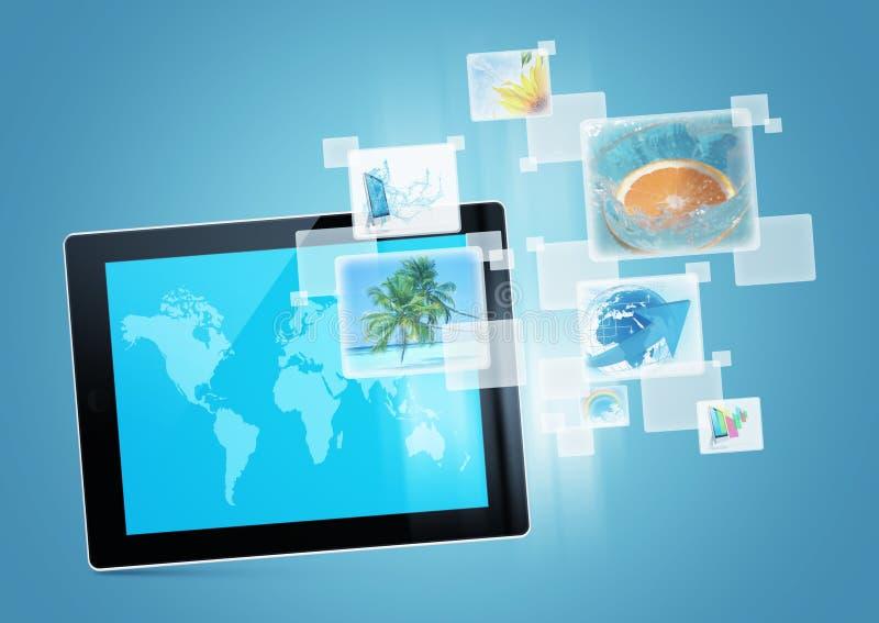 Tablet tecnology image. Tablet tecnology background design digital picture future stock illustration