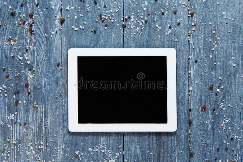 Tablet template for menu, recipe or cooking app royalty free stock photos