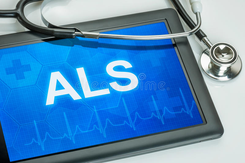 Tablet with the text ALS stock photo