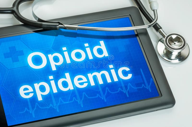 Tablet with the text Opioid epidemic royalty free stock photos