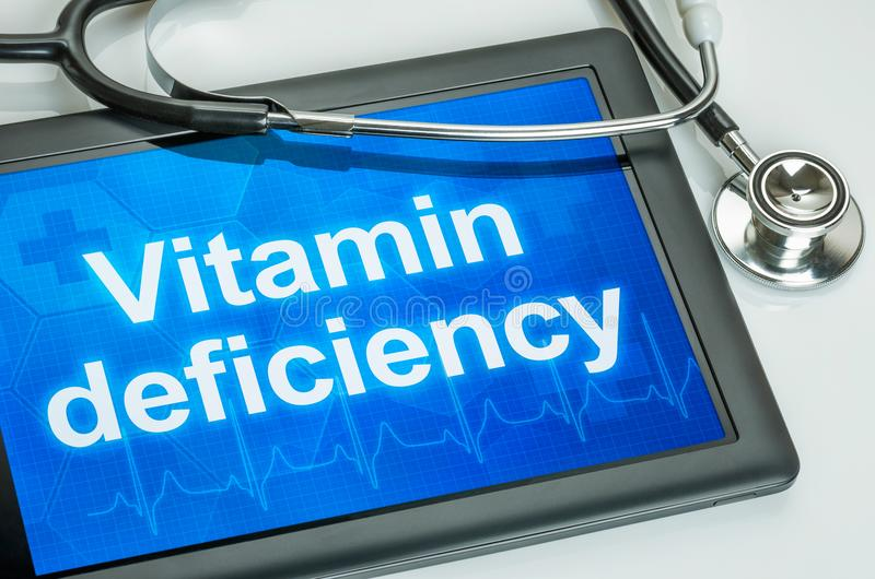 Tablet with the text vitamin deficiency stock photography