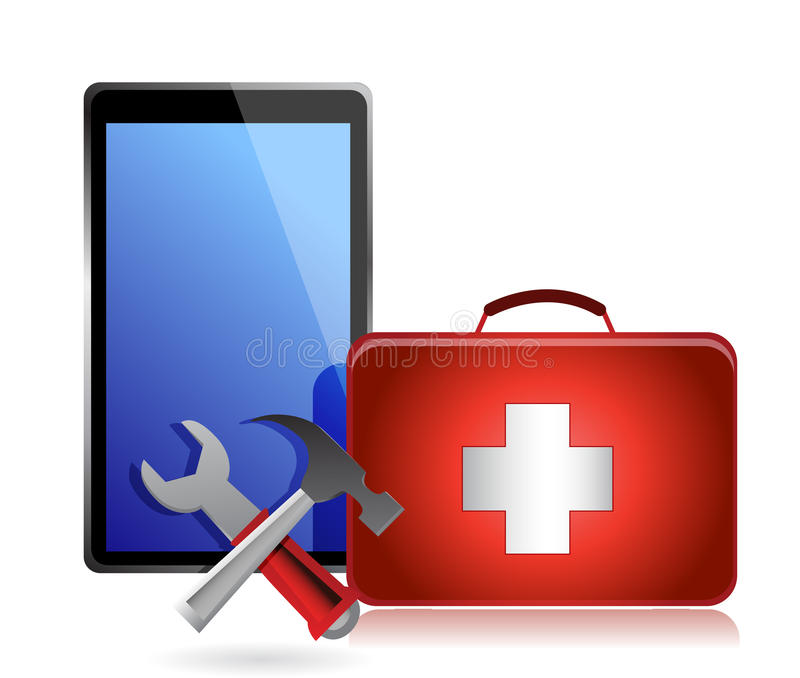 Tablet with tools and a first aid kit royalty free illustration
