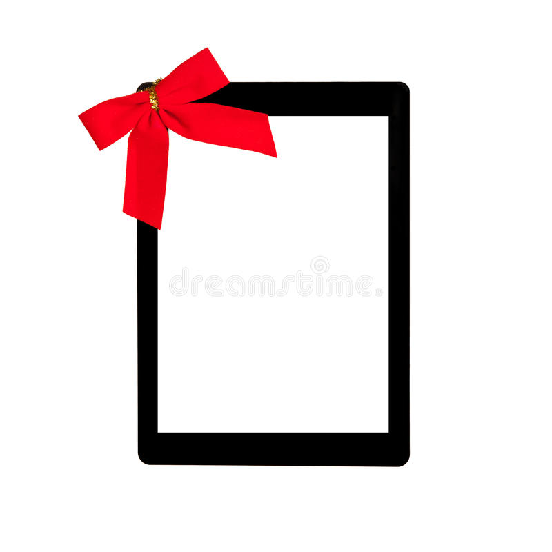Tablet Touch Computer Gadget With Isolated Screen And A Red Bow Stock Photography