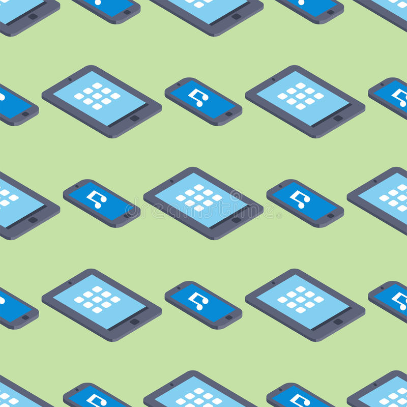 Tablet touch screen background communication electronic isometric seamless pattern equipment vector illustration. Design pda smartphone communicator stock illustration