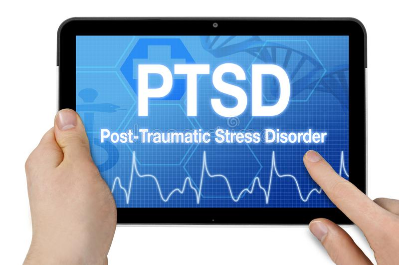 Tablet with touchcreen and PTSD post traumatic stress disorder stock image