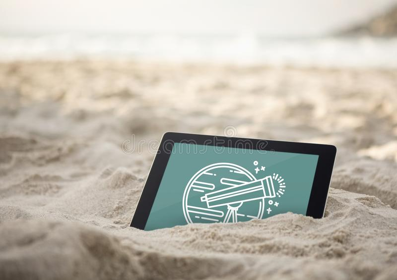 Tablet with travel icon on the screen stock illustration