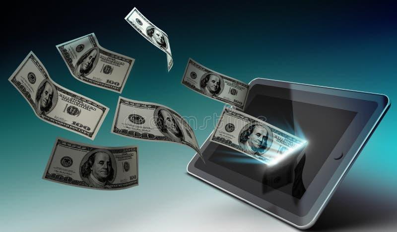 Tablet- und Geld-APP-Speicherkonzept stock abbildung