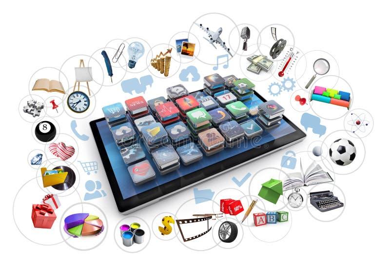 Tablet und Ikonen 3d stock abbildung