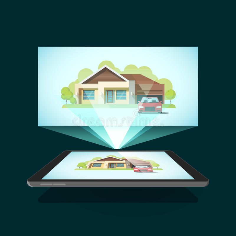 Tablet video projector vector illustration, concept of home cinema, film. Streaming royalty free illustration