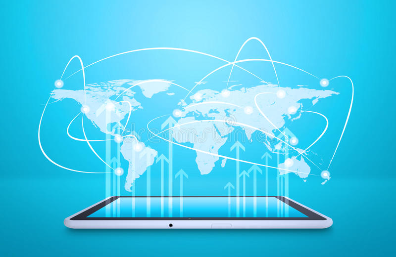 Tablet with virtual world map and connected dots stock illustration download tablet with virtual world map and connected dots stock illustration illustration of people gumiabroncs Choice Image