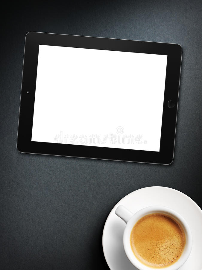 Tablet white screen similar to ipad display and coffee. On background stock images