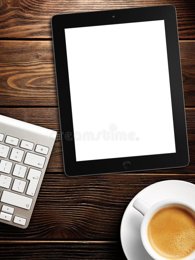 Tablet white screen similar to ipad display and coffee. On background 3d rendering royalty free stock photos