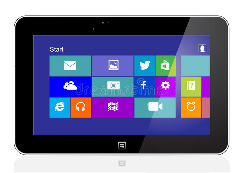 Tablet with windows 8 royalty free illustration