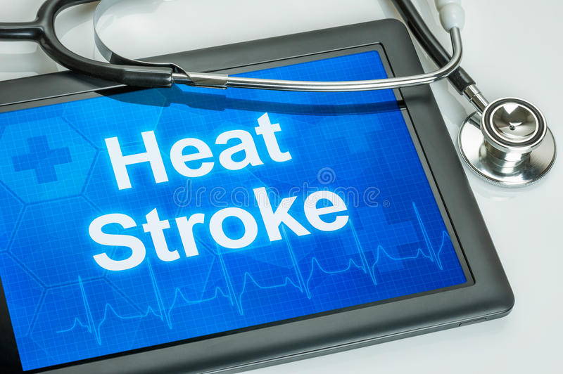 Tablet with the word Heat Stroke royalty free stock image