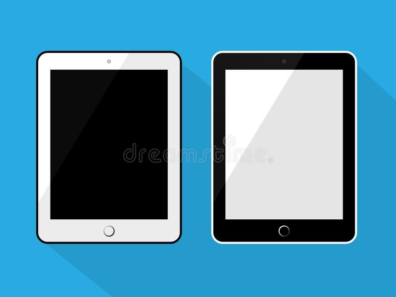 Tablet in zwart-wit de kleuren vlak ontwerp van de ipadstijl royalty-vrije illustratie