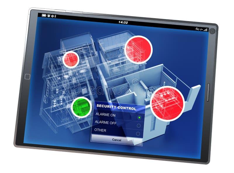 Tableta app del control de la seguridad en el hogar imágenes de archivo libres de regalías