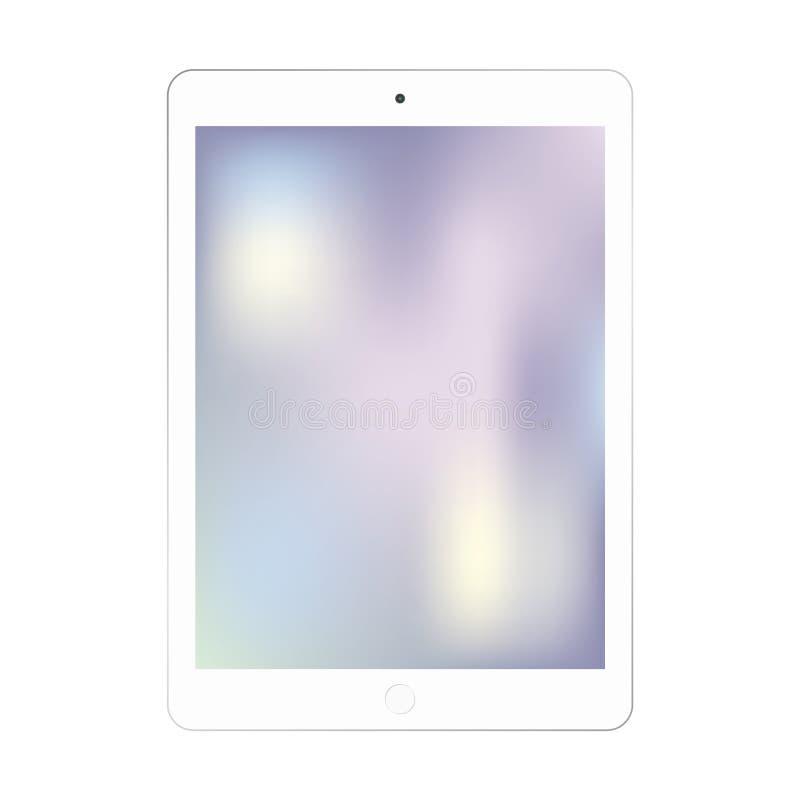 Tableta blanca de Ipad con vector de la pantalla a color Tableta en el color blanco con el vector colorido vacío eps10 de la pant stock de ilustración