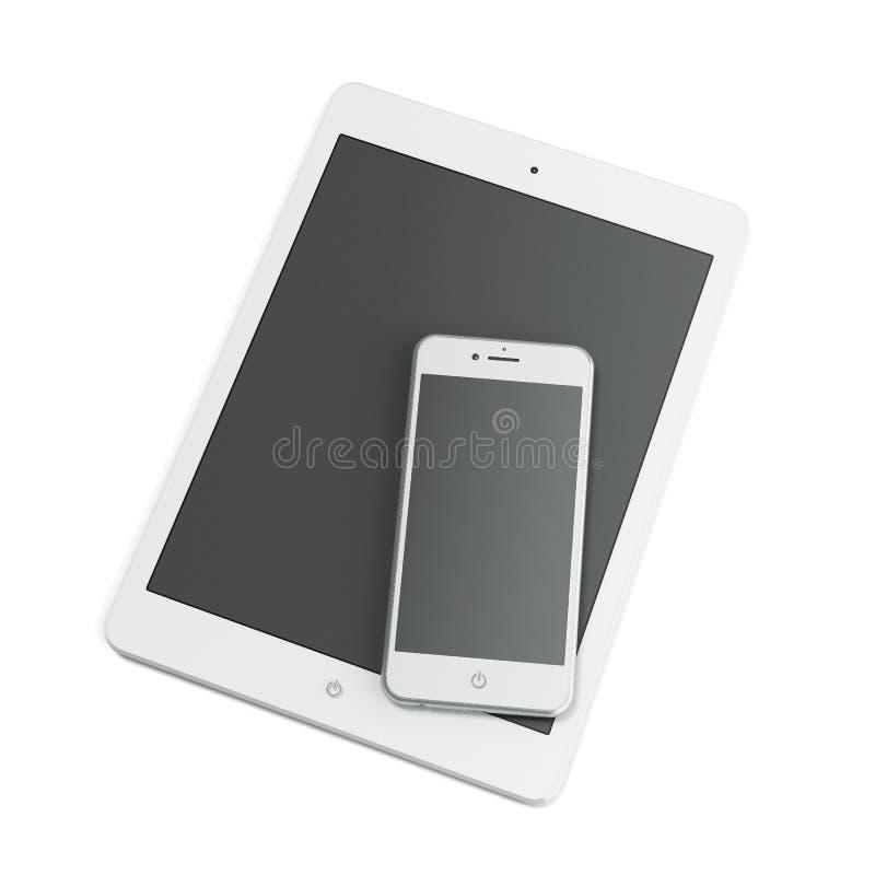 Tableta blanca y teléfono elegante ilustración del vector