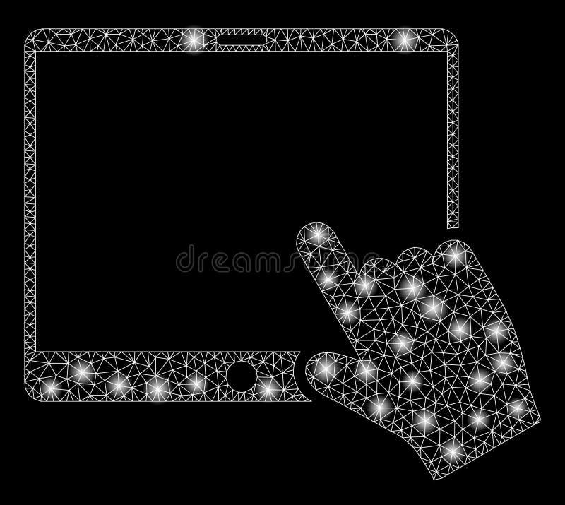 Tableta brillante de Mesh Wire Frame Hand Pointer con los puntos ligeros stock de ilustración