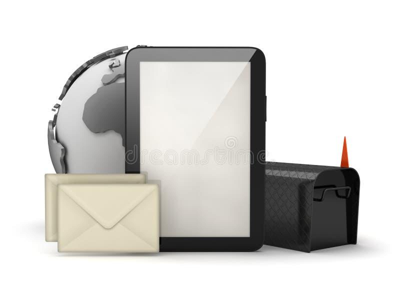 Tableta, buzón y sobres ilustración del vector