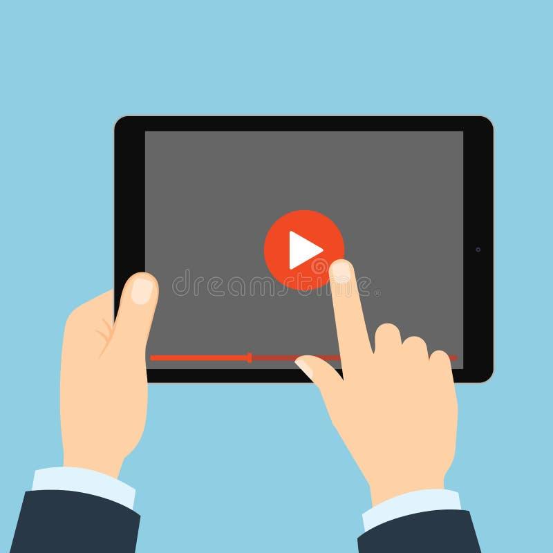 Tableta con el botón de reproducción ilustración del vector