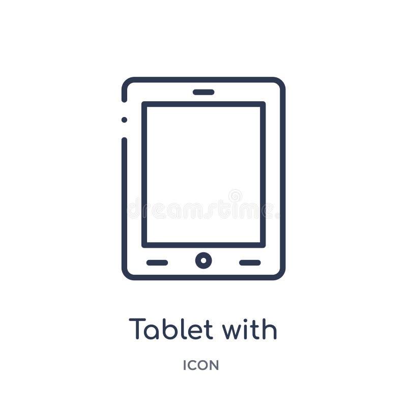 tableta con el icono de la pantalla en blanco de la colección del esquema de la tecnología Línea fina tableta con el icono de la  stock de ilustración