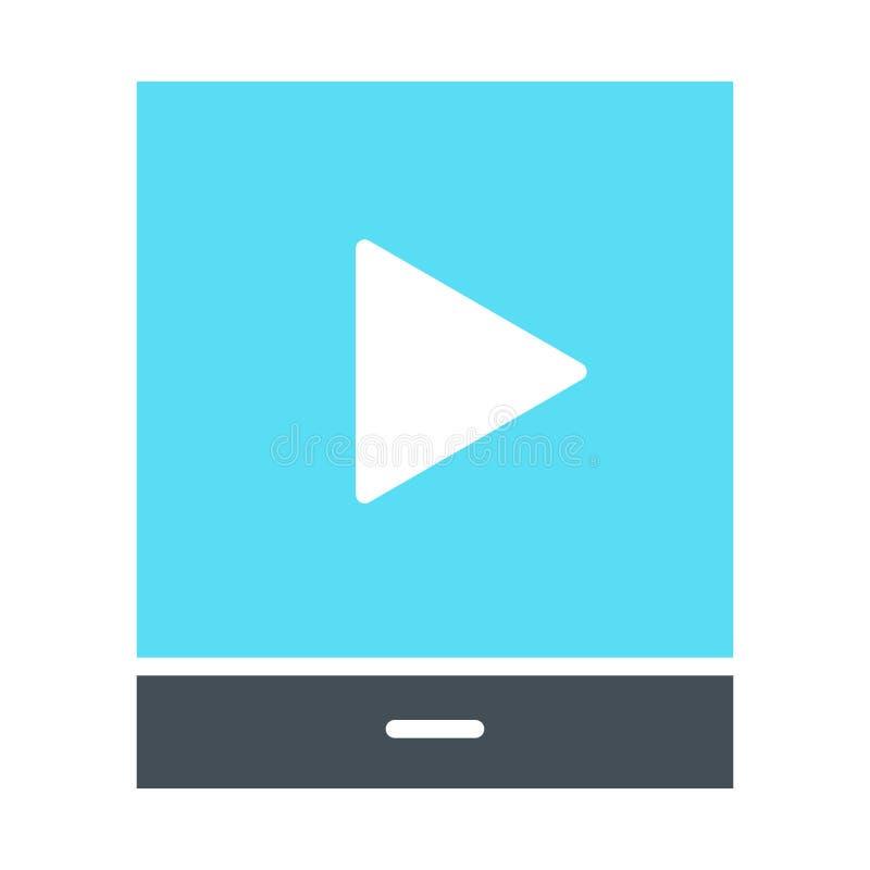 Tableta con el icono de la silueta del botón de reproducción Pictograma del vector ilustración del vector