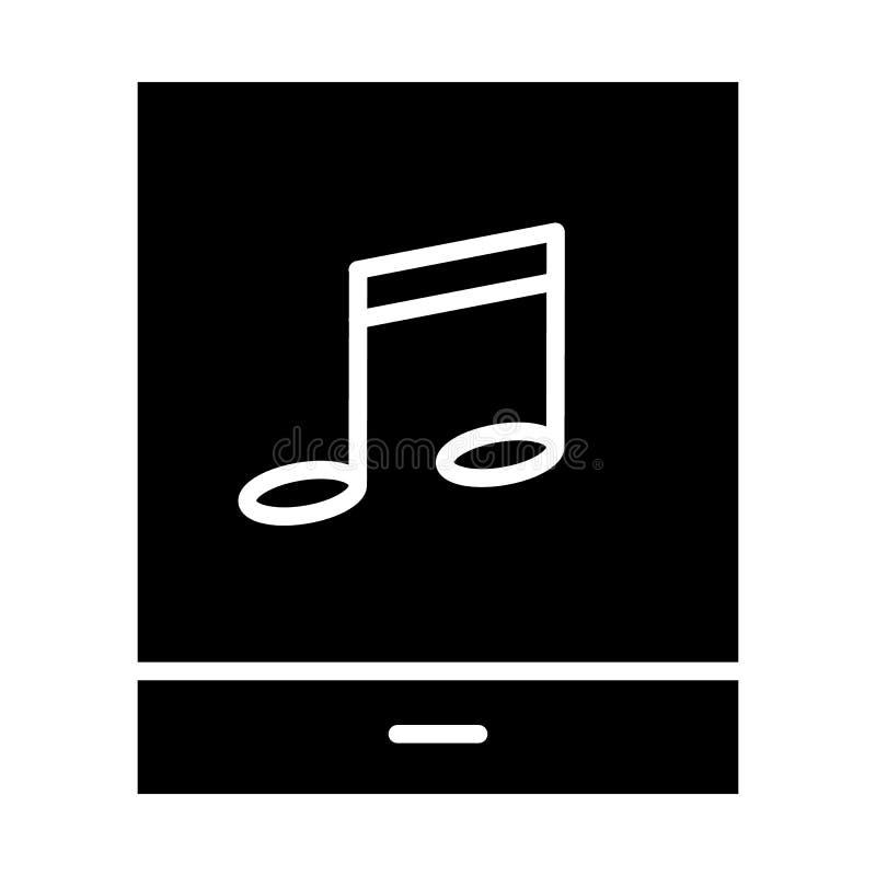 Tableta con el icono de la silueta de la nota de la música pictogram stock de ilustración