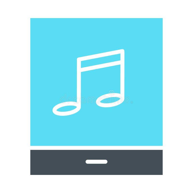 Tableta con el icono de la silueta de la nota de la música Pictograma del vector libre illustration