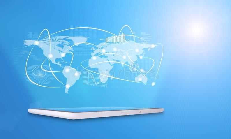 Tableta con el mapa del mundo y los gráficos virtuales ilustración del vector