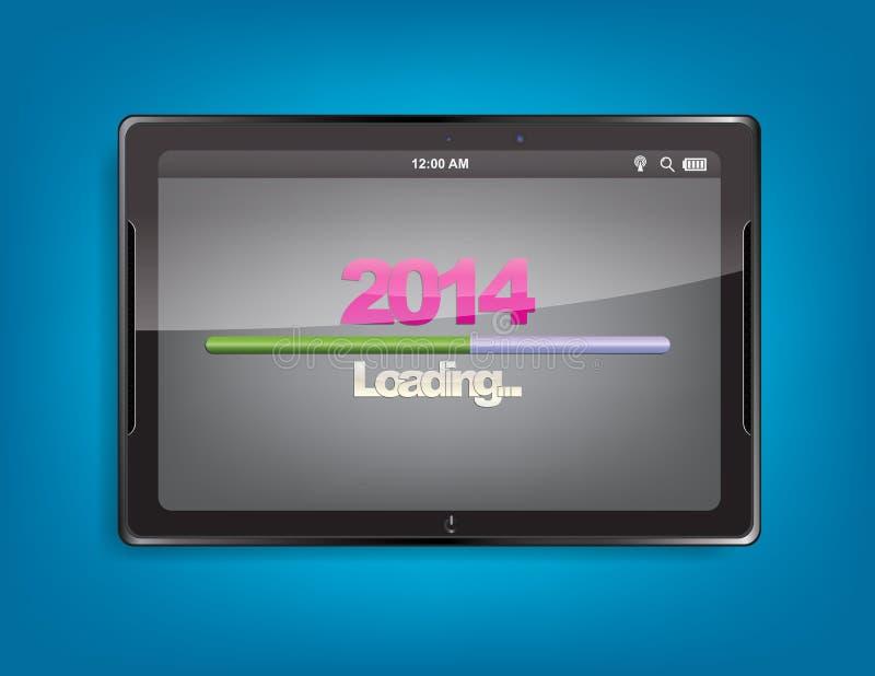 Tableta con la barra de cargamento stock de ilustración