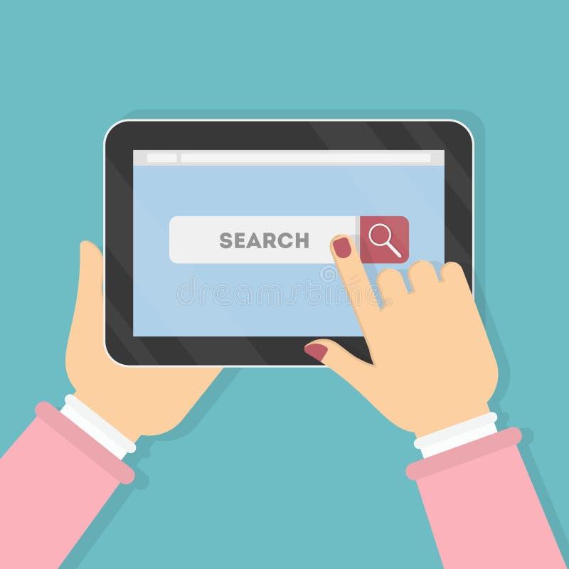 Tableta con la barra de la búsqueda ilustración del vector