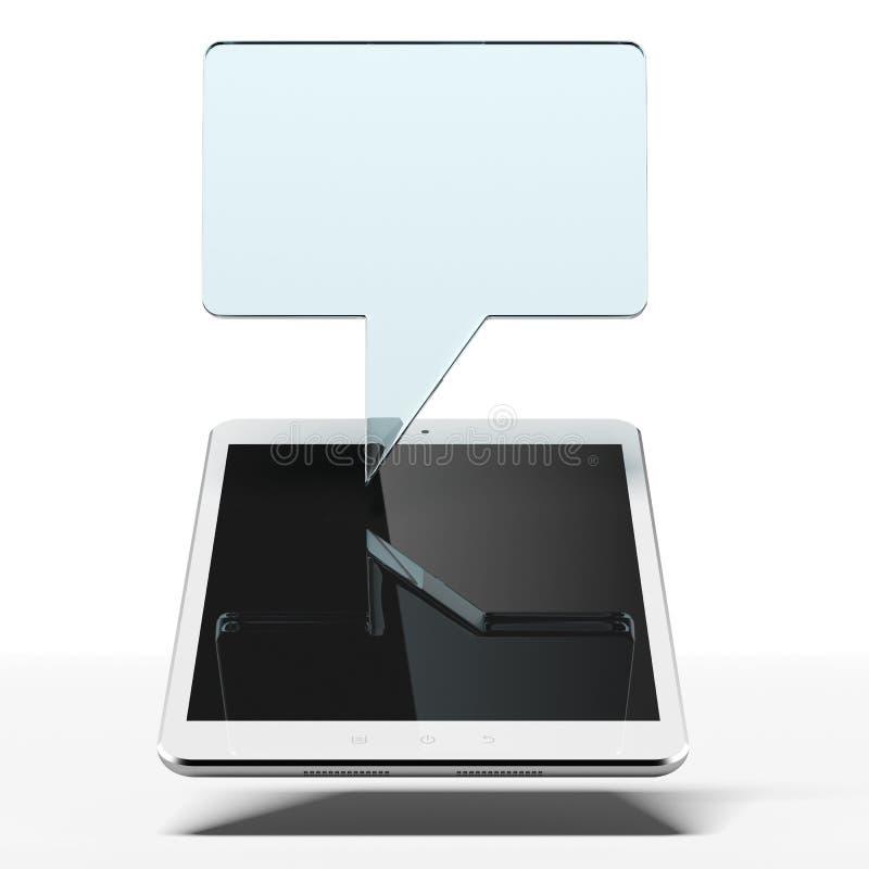 Tableta con la burbuja del discurso stock de ilustración