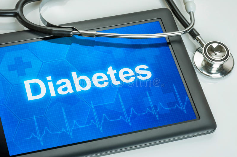 Tableta con la diabetes de la diagnosis fotos de archivo libres de regalías