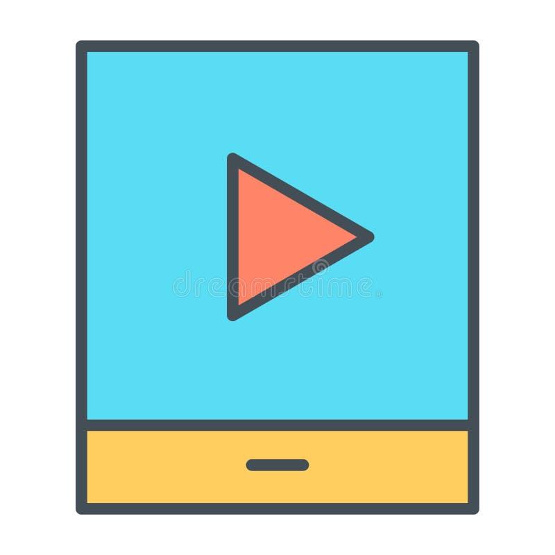 Tableta con la línea fina icono del botón de reproducción Pictograma del vector stock de ilustración