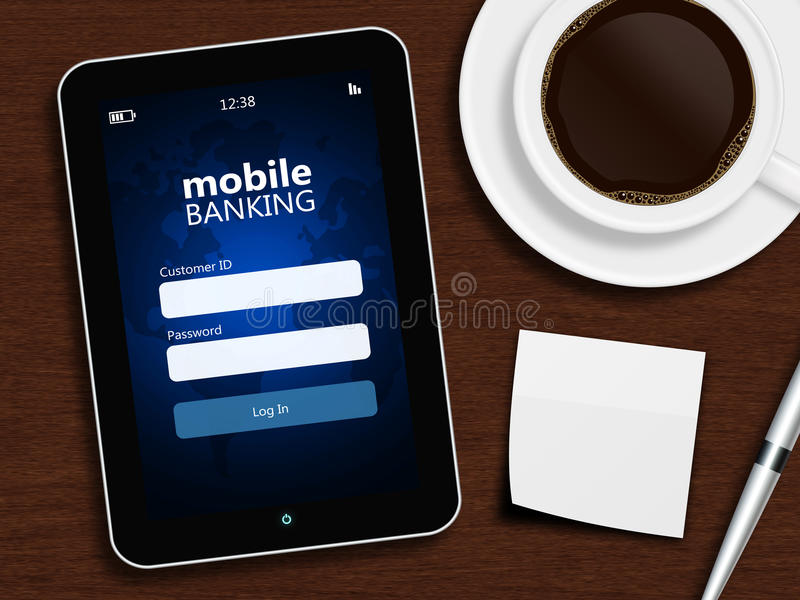 Tableta con la página de inicio de sesión móvil de las actividades bancarias, la taza de café, la pluma y el wh libre illustration