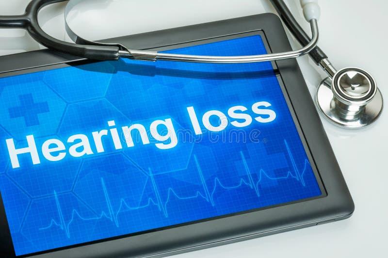 Tableta con la pérdida de oído de la diagnosis foto de archivo
