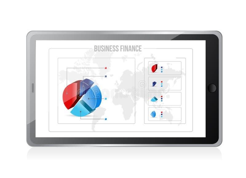 Tableta con los gráficos de las finanzas del negocio en la pantalla. libre illustration