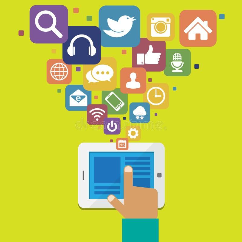 Tableta con los medios iconos sociales libre illustration