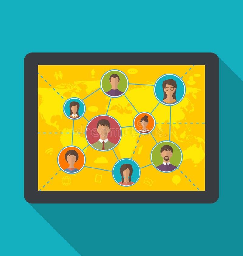 Tableta con los usuarios sociales de la red y de la amistad ilustración del vector