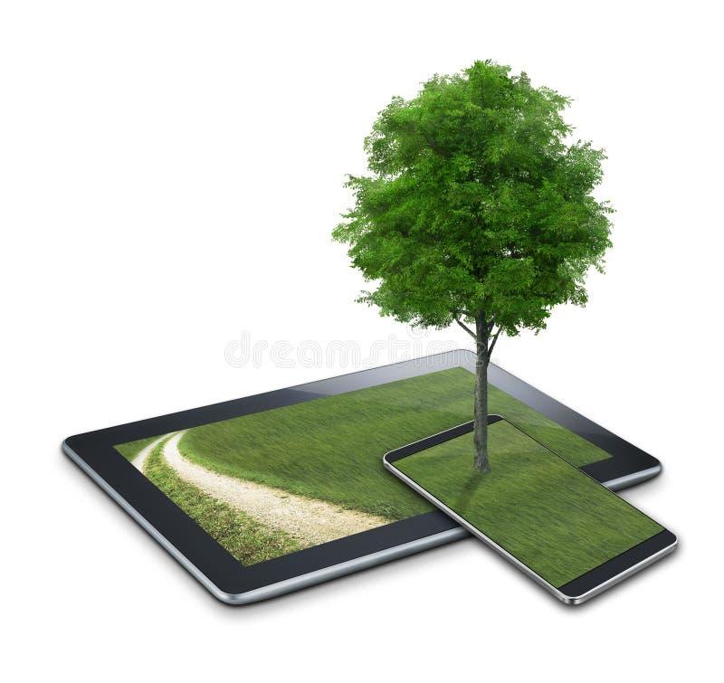Tableta con opiniones y el árbol del país ilustración del vector