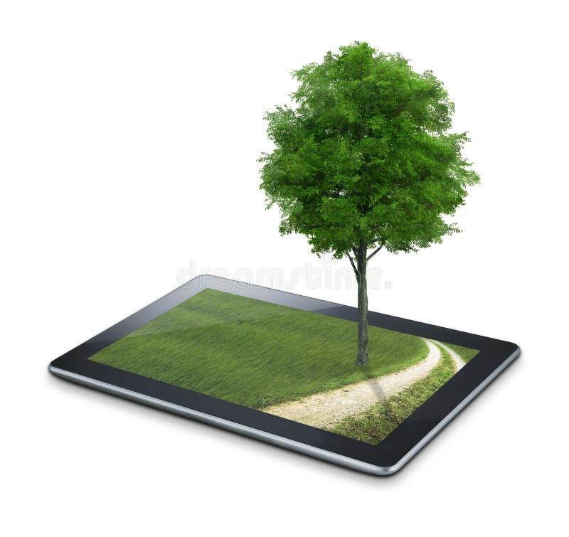 Tableta con opiniones y el árbol del país stock de ilustración
