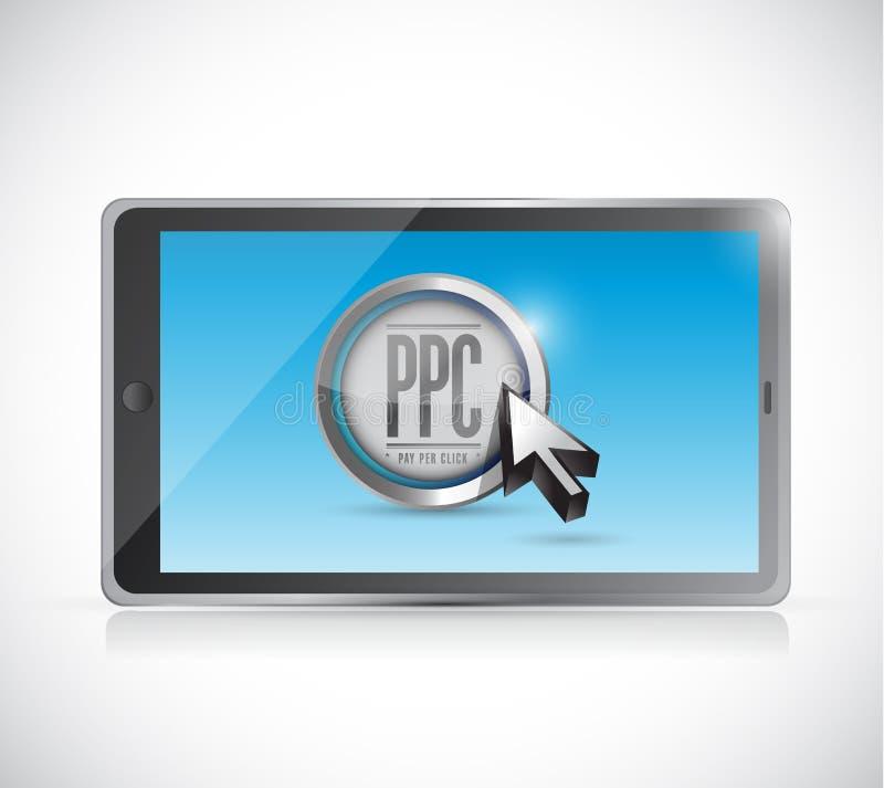 Tableta con paga por el botón del tecleo. concepto del ppc ilustración del vector