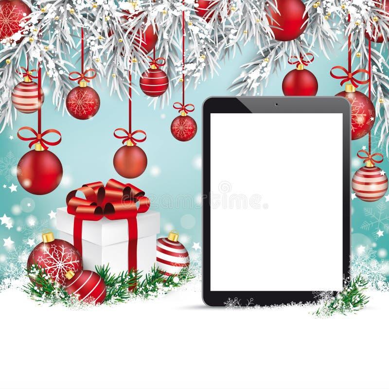 Tableta congelada chucherías rojas de la nieve de las ramitas de la Navidad libre illustration