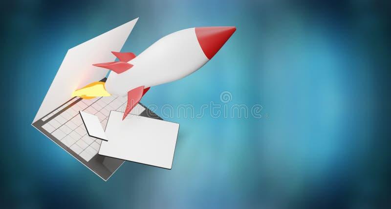 Tableta 3d-illustration del teléfono de pantalla de ordenador del comienzo de Rocket libre illustration