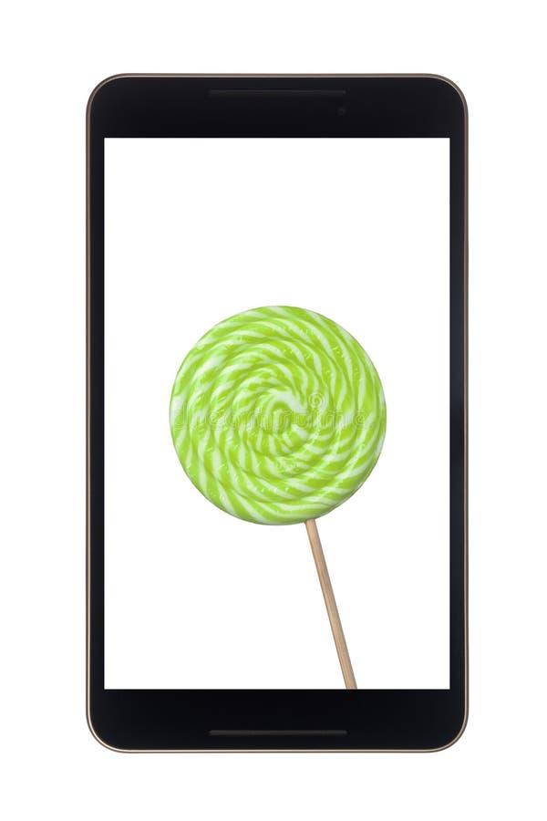 Tableta de Android con la piruleta fotos de archivo libres de regalías
