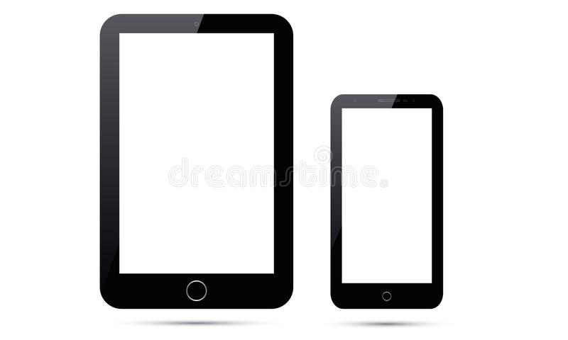 Tableta de Android Ipad del vector y teléfono móvil elegante de Android del vector stock de ilustración