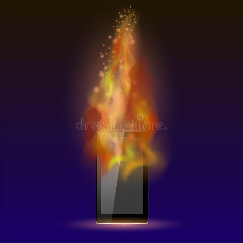Tableta de Burninng con la llama del fuego stock de ilustración